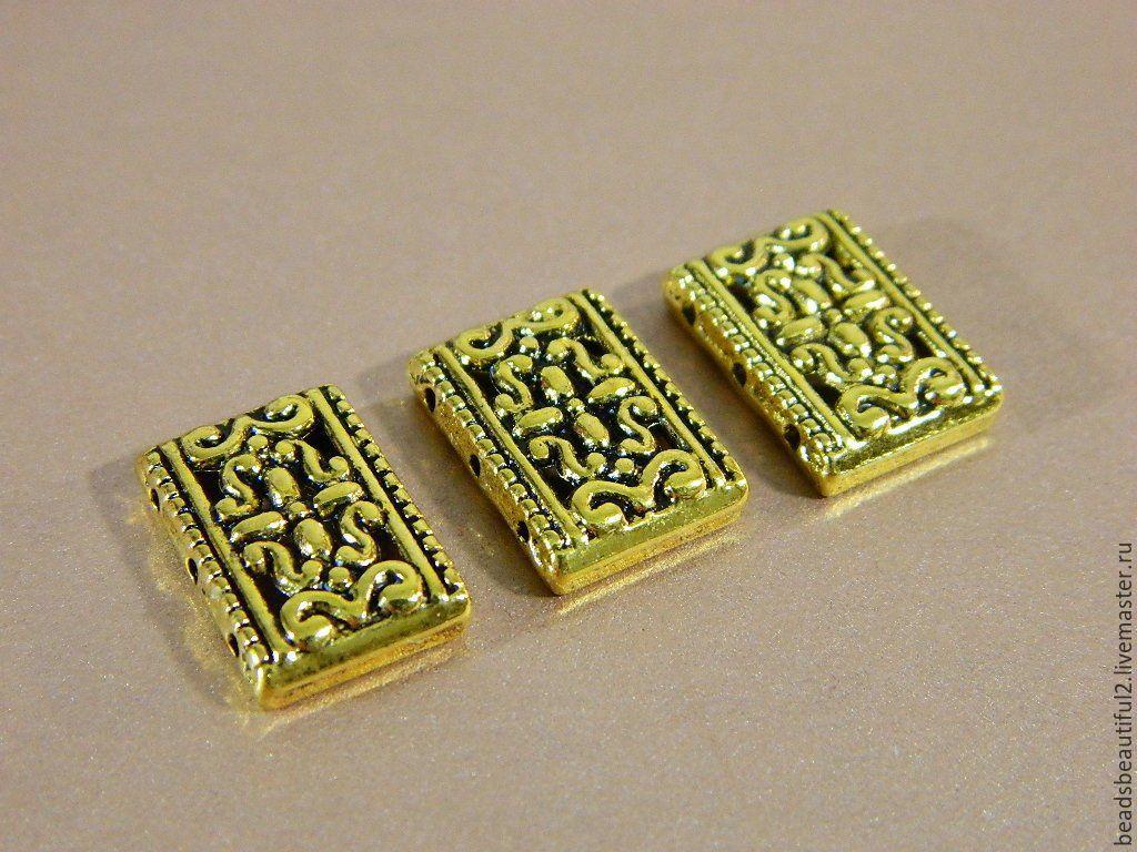 Разделитель бусин на 3 нити, античное золото, 18 х 12 мм, 2 шт, Фурнитура, Саратов,  Фото №1
