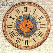 """Для дома и интерьера ручной работы. Ярмарка Мастеров - ручная работа Часы настенные """"Солнце Италии"""" круглые голубые. Handmade."""