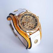 Украшения handmade. Livemaster - original item Citrus mechanical wrist watch on wide leather bracelet. Handmade.