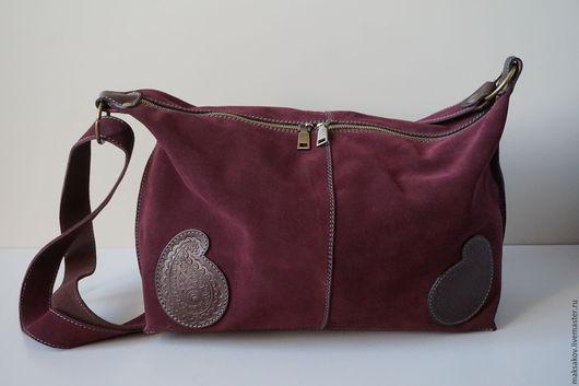 Женские сумки ручной работы. Ярмарка Мастеров - ручная работа. Купить Замшевая сумка. Handmade. Коричневый, натуральная замша