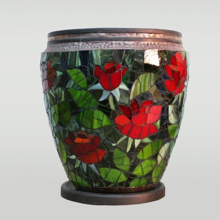 Цветочный горшок `Красные розы` 28х33
