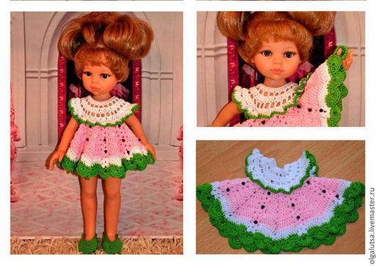 """Одежда для кукол ручной работы. Ярмарка Мастеров - ручная работа. Купить комплект """"Арбузик"""". Handmade. Платье для куклы, крючком, хлопок"""