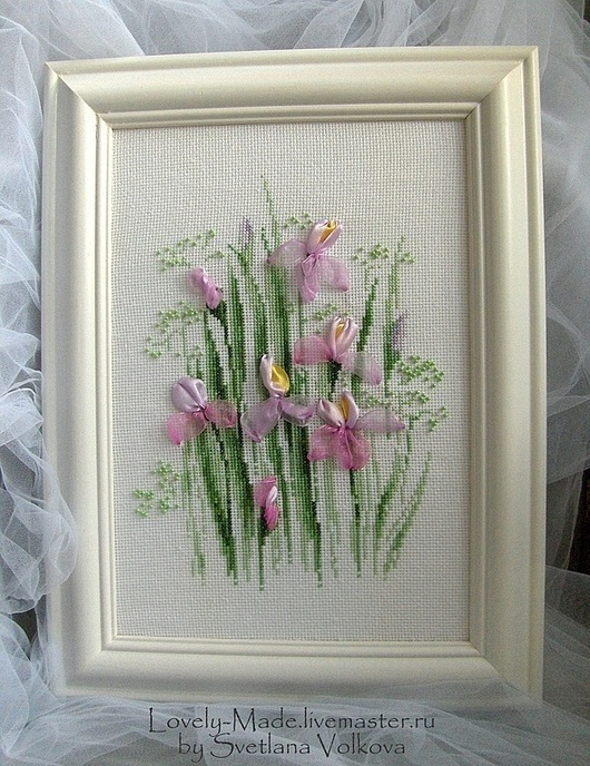 """Картины цветов ручной работы. Ярмарка Мастеров - ручная работа. Купить """"Ирисы"""" (вышитая картина цветов). Handmade. Ирисы"""