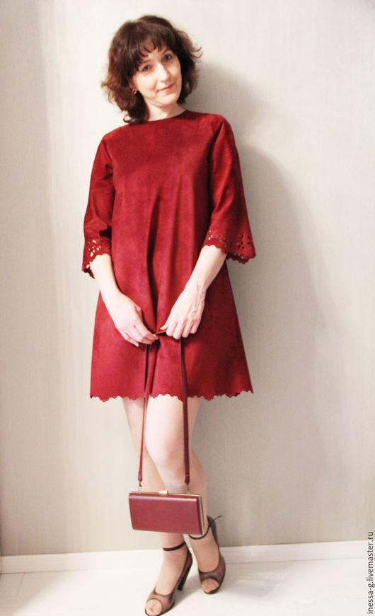 Платья ручной работы. Ярмарка Мастеров - ручная работа. Купить Замшевое платье  цвета марсалы. Handmade. Бордовый, замша