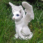 Куклы и игрушки ручной работы. Ярмарка Мастеров - ручная работа валяная игрушка кошечка ангел. Handmade.