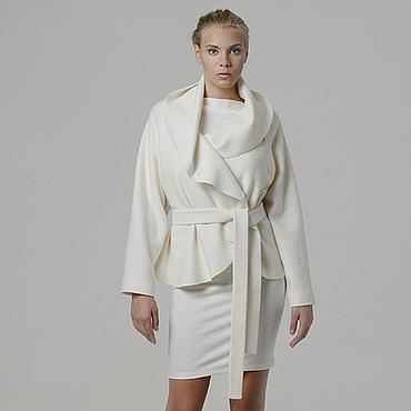 Одежда ручной работы. Ярмарка Мастеров - ручная работа Пальто короткое белое, жакет шерстяной из лодена на весну, осень. Handmade.