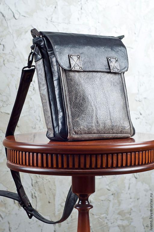 Мужские сумки ручной работы. Ярмарка Мастеров - ручная работа. Купить Сумка-планшет кожаная. Handmade. Темно-серый, планшет
