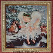 Картины и панно ручной работы. Ярмарка Мастеров - ручная работа Вышивка бисером. Рождественский ангел.. Handmade.