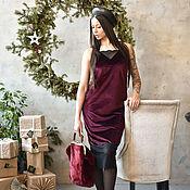 Одежда handmade. Livemaster - original item Dress combination of velvet with lace Bordeaux! 15% discount!!. Handmade.