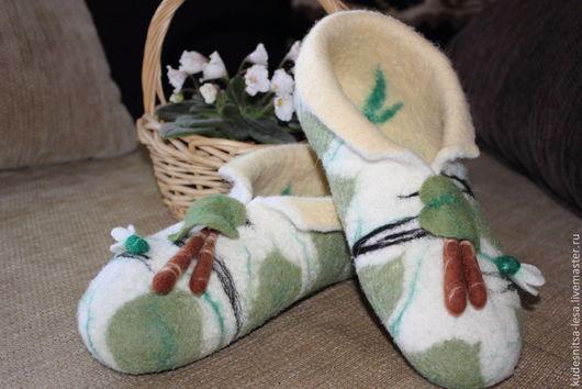 """Обувь ручной работы. Ярмарка Мастеров - ручная работа. Купить Тапочки из натуральной шерсти """"Песня Берендея"""". Handmade. Войлок, береза"""