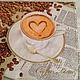 Чашка капучино и кофемолка с кофе  Салфетка для декупажа Декупажная радость
