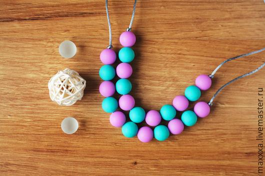 Развивающие игрушки ручной работы. Ярмарка Мастеров - ручная работа. Купить Слингобусы мятно-лиловые с силиконовыми бусинами. Handmade. Слингобусы