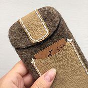 Сумки и аксессуары ручной работы. Ярмарка Мастеров - ручная работа Чехол для IPhone6 с кармашком, чехол для планшета, чехол войлок кожа. Handmade.