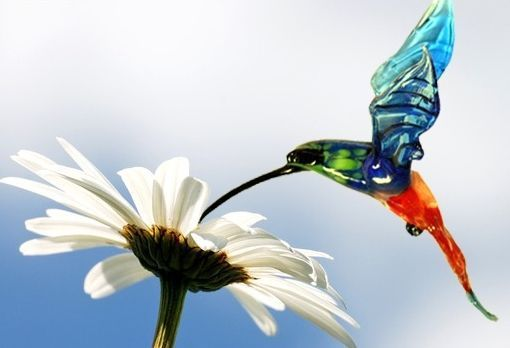Interior hanging decoration stained glass bird Hummingbird, Pendants for pots, Moscow,  Фото №1