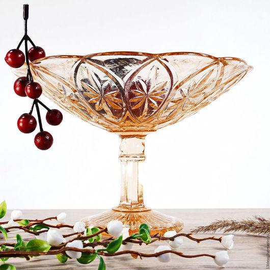 Винтажная посуда. Ярмарка Мастеров - ручная работа. Купить Конфетница или мороженица)) прессованное стекло. Handmade. Коралловый, конфетница