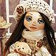 Коллекционные куклы ручной работы. Александра. YanaDolls. Ярмарка Мастеров. Хлопок, кукла текстильная, кукла с мишкой, трессы, бусины