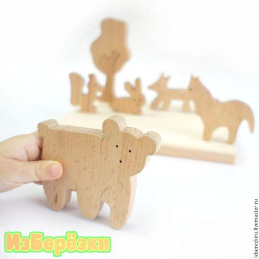 Развивающие игрушки ручной работы. Ярмарка Мастеров - ручная работа. Купить Лесные зверята. Деревянный пазл.. Handmade. Пазл, дерево