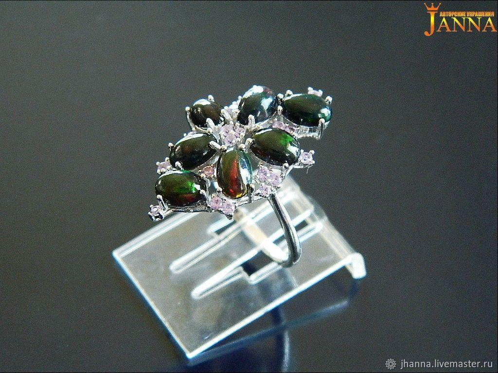 Opal. ' Night' ring with black opal, Rings, Volgograd,  Фото №1