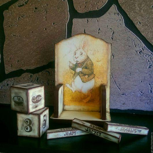 """Календари ручной работы. Ярмарка Мастеров - ручная работа. Купить Вечный календарь """"Белый кролик"""". Декупаж. Handmade. Комбинированный, трафарет"""