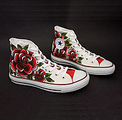 """Обувь ручной работы. Ярмарка Мастеров - ручная работа """"Roses Oldschool"""" кеды Конверс Converse с росписью.. Handmade."""