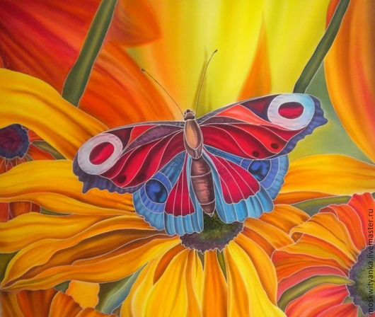 После небольшого перерыва захотелось яркости, тепла, света! Вдохновили фото из интернета - давно не расписывала бабочек.