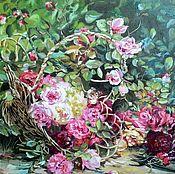 """Картины ручной работы. Ярмарка Мастеров - ручная работа Картина маслом """"Розы в корзине"""".. Handmade."""