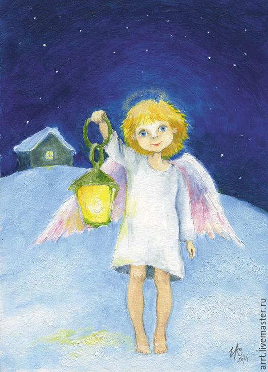 Новый год 2017 ручной работы. Ярмарка Мастеров - ручная работа. Купить Новогодняя открытка Ангел с фонариком. Handmade. Открытка