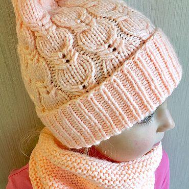 Одежда ручной работы. Ярмарка Мастеров - ручная работа Вязаная детская шапка и снуд для девочки. Handmade.