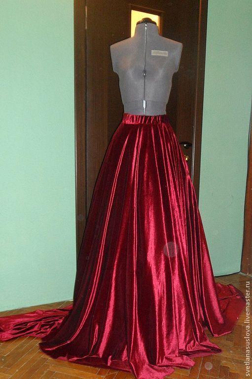 Юбки ручной работы. Ярмарка Мастеров - ручная работа. Купить Бархатная юбка со шлейфом. Handmade. Бордовый, бархат
