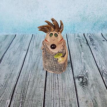 Сувениры и подарки ручной работы. Ярмарка Мастеров - ручная работа Колокольчик керамика Еж - жадина. Handmade.