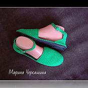 Обувь ручной работы handmade. Livemaster - original item sandals. Knitted shoes. Shoes to order. color green.. Handmade.