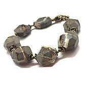 Украшения handmade. Livemaster - original item Bracelet made of natural stones Septaria, author`s brass Anna Black. Handmade.