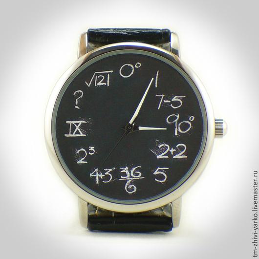 """Часы ручной работы. Ярмарка Мастеров - ручная работа. Купить Часы наручные """"Арифметика"""".. Handmade. Темно-серый, оригинальный подарок"""