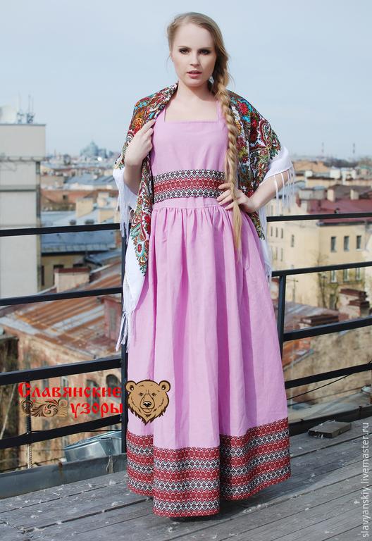 """Платья ручной работы. Ярмарка Мастеров - ручная работа. Купить Сарафан """"Любава"""" летний розовый. Handmade. Розовый, сарафан в пол"""