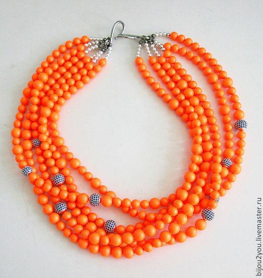 Колье, бусы ручной работы. Ярмарка Мастеров - ручная работа. Купить Neon Orange неоновые бусы. Handmade. Оранжевый