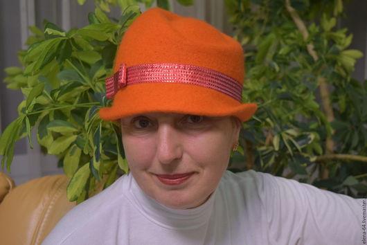 Шляпы ручной работы. Ярмарка Мастеров - ручная работа. Купить Оранжевое настроение. Handmade. Оранжевый, шляпка женская