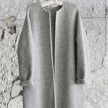 Одежда ручной работы. Ярмарка Мастеров - ручная работа Пальто Оверсайз Вязаное Норка (Серый цвет). Handmade.
