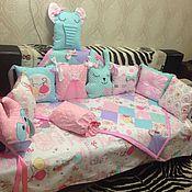 Комплект белья в кроватку ручной работы. Ярмарка Мастеров - ручная работа Постелька для малышки. Handmade.