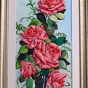 """Картины и панно ручной работы. Ярмарка Мастеров - ручная работа Картина лентами """"Очарование роз"""". Handmade."""