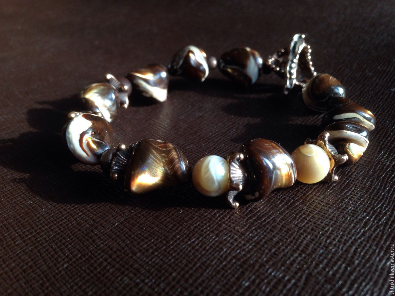 Bracelet From the bottom of the chocolate sea. Mother of pearl, designer accessories, Bead bracelet, Moscow,  Фото №1