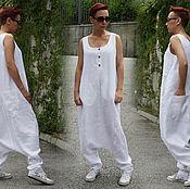 Одежда ручной работы. Ярмарка Мастеров - ручная работа Белый комбинезон из льна. Handmade.