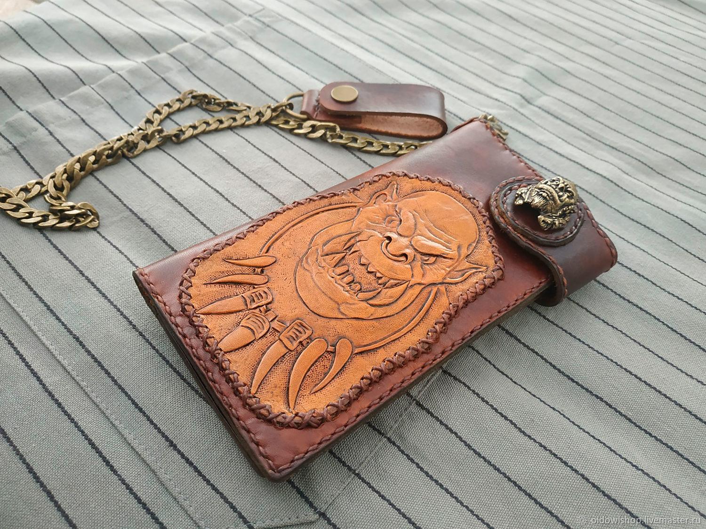 Байкерский кошелек, бумажник из натуральной кожи, Кошельки, Москва, Фото №1