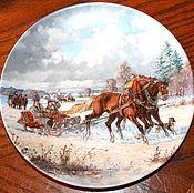 """Винтаж handmade. Livemaster - original item Коллекционные тарелки """"С лошадьми на дороге"""", Seltmann Weiden, Герман. Handmade."""