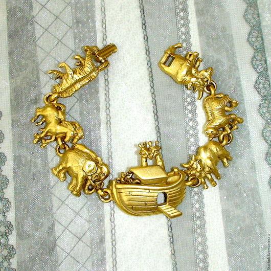 """Винтажные украшения. Ярмарка Мастеров - ручная работа. Купить -15% Браслет """"Ноев ковчег"""" под античное золото (A.J.C. США). Handmade."""
