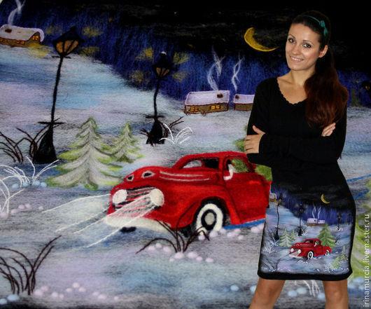 """Платья ручной работы. Ярмарка Мастеров - ручная работа. Купить Платье """"Новогодняя сказка"""". Handmade. Черный, эксклюзивное платье, полушерсть"""
