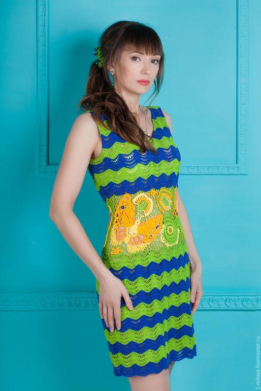 """Платья ручной работы. Ярмарка Мастеров - ручная работа. Купить Платье """"Июль"""". Handmade. Комбинированный, полоски, платье, 100% хлопок"""