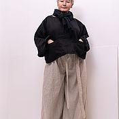 Блузки ручной работы. Ярмарка Мастеров - ручная работа Льняная черная блузка с двумя накладными карманами.. Handmade.