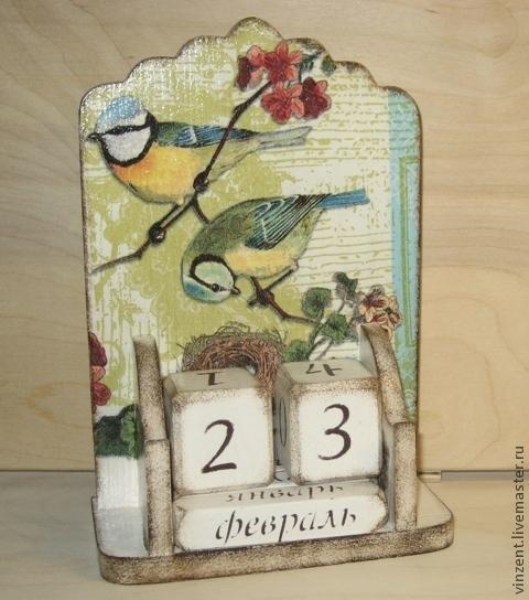 """Календари ручной работы. Ярмарка Мастеров - ручная работа. Купить Вечный календарь """"Синичкино счастье"""". Handmade. Белый, подарок женщине"""