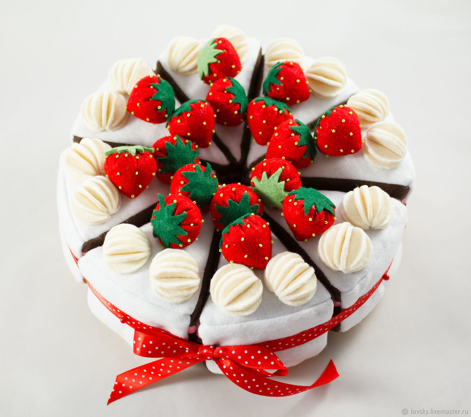 Cake from felt ' Chocolate with strawberries', Doll food, Naro-Fominsk,  Фото №1