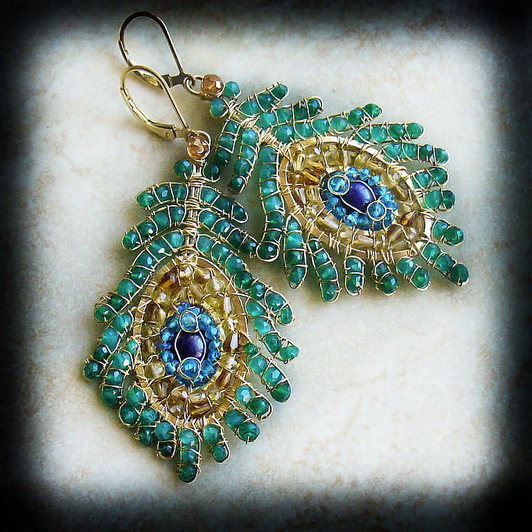Earrings handmade. Livemaster - handmade. Buy Earrings 'peacock Feather' 2.Peacock, filled with gold (14kt gold fi